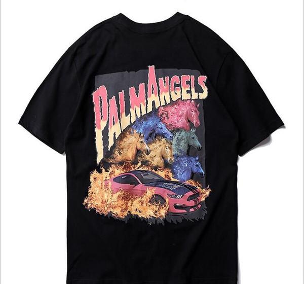 Mens designer t shirts Palm Angels 3d print Skateboard hip hop streetwear tee shirt men clothing