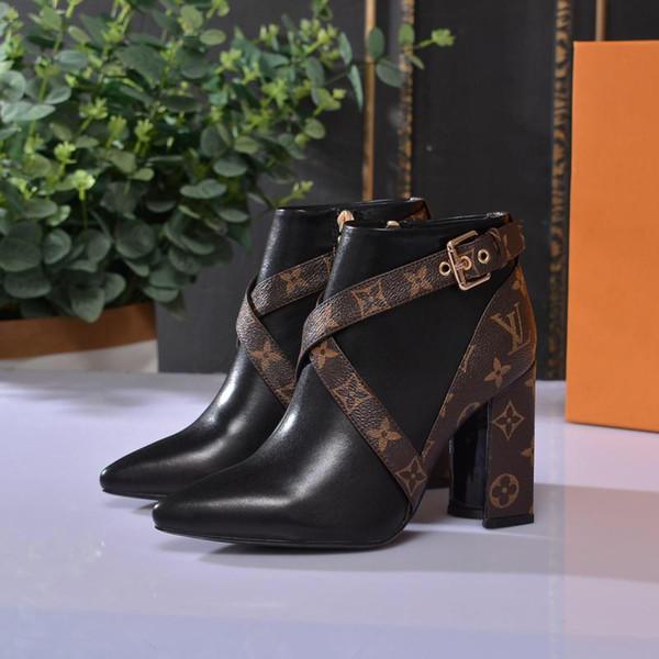 Bottes femme en cuir véritable avec boucle de ceinture, chaussures pour femmes, bottes imperméables de haute qualité, talons hauts.