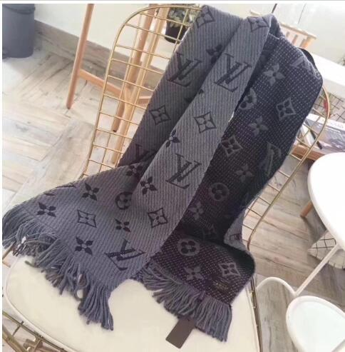 Mode hiver LOGO MANIA SHINE Écharpe Luxe Femmes Hommes Deux Black Side de soie rougeLOUISVUITTON couverture de laine Foulards Designer