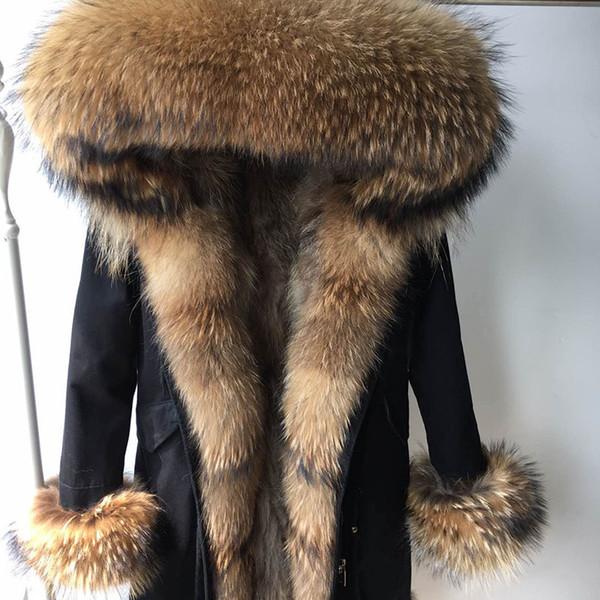 2019 Hiver réel naturel Manteau de fourrure femmes col de fourrure Manteau Raccoon Doublure femmes Noir Parka Veste longue Parkas Manteaux