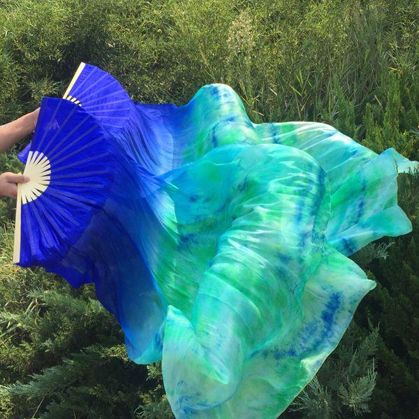 2019 Belly Dance Fan Veil 1 Pair ( right +left) Hand 1.8m*0.9m Women Oriental Belly Dance Silk Fan Turquoise Tie-dye Veils