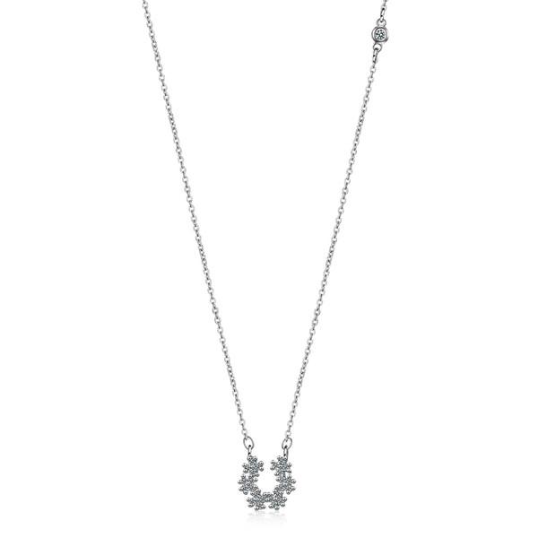 DZ385 Kız Kolye Zincir Gümüş Takı Kolye femal Chokers kolye Şifa beyaz Kristaller yuvarlak çiçek