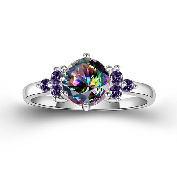 Tu sei unico al mondo romantico matrimonio Solitaire anelli colorati viola scuro zircone Platinum signore belle di fidanzamento Gioielli Regali
