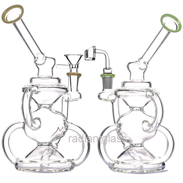 Recycle bong dab rig oil rig recycle bubbler with bowl or quartz bagner yellow green dab rigs glass water bongs