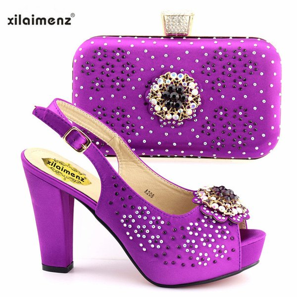 2019 Super High Heels New Purple Color Royal Wedding Clutch Bag Match Italian Women Shoes and Bag Matching Set For Sandals