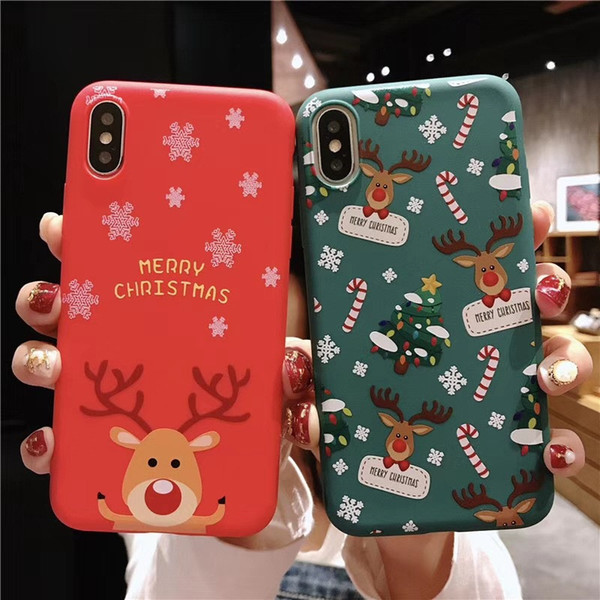 Christmas Phone Case Cute Santa Claus Animal Tree TPU Protective Back Cover Gift Shockproof for iPhone X XS XR XS MAX SCA547