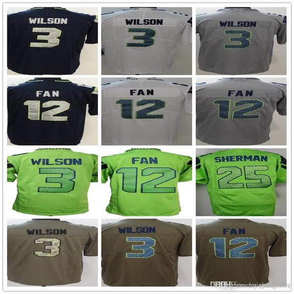 a07a94ad4 Custom Men's Women's Youth Seattle Seahawk Jerseys 3 Russell Wilson 12 Fan  blue 25 Richard Sherman