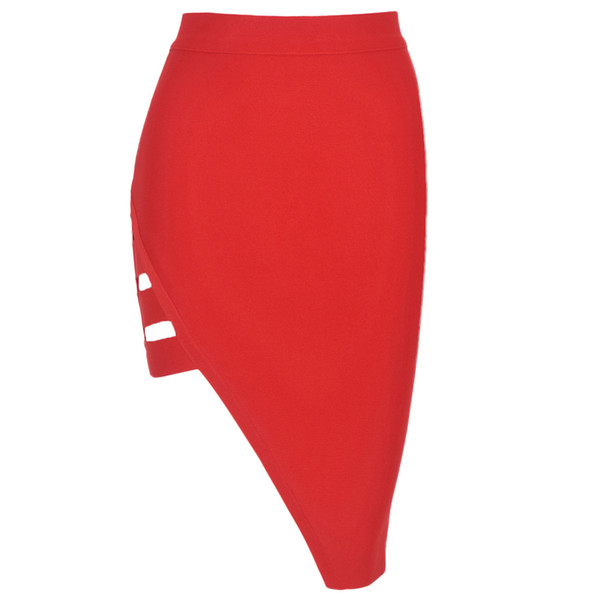 Beaukey Red Black Split Hollow Out Pencil Bandage Skirt Empire Knee Length Sexy Skirt Cheap J190515