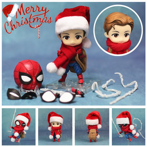 NEW Marvel Homecoming Cute Spider Man 10cm Kawaii Action Figure Q Tom Holland Avengers Spiderman Toys Doll KO's Nendoroid 781