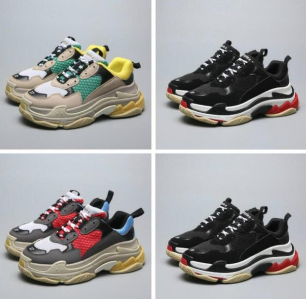 HOT Paris 17FW Fashion Casual Shoes womens Sneakers Triple S Casual Dad Shoes designer Mens Womens Beige Black Sports Chaussures