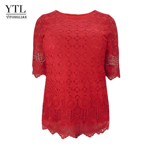 Ytl Women Plus Size Clothing Vintage Delicate Floral Crochet Lace Top Solid Casual T Shirt Ladies Tshirt Tees 5xl 6xl 7xl H139 J190614