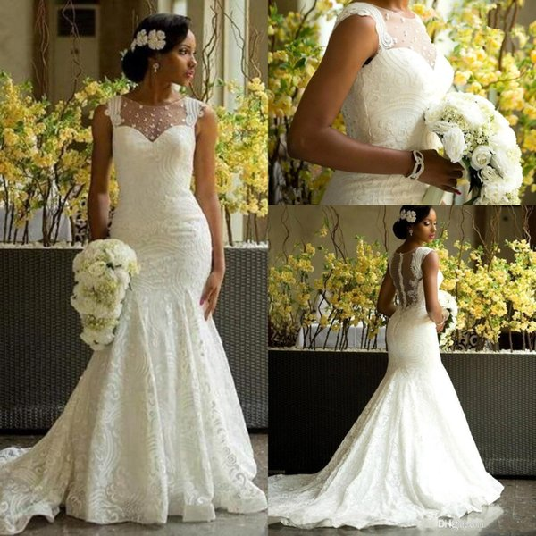 2019 Garden Wedding Dresses Mermaid Illusion Neckline Bridal Gowns Nigerian Lace Covered Button Back Long African Aso Ebi Wedding Gown