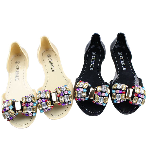 Women Sandals Korea Chic Bling Rhinestone Bowknot Women Jelly Shoes Summer Hot Sale Fashion Water Proof Flat Pee Toe Rain Shoes