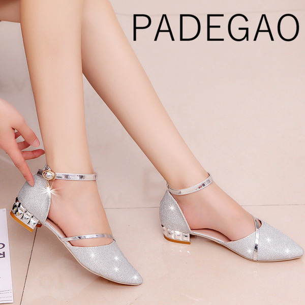 Women ShoesLow Heel Bling Square Heels Fashion Bling Pointed Toe Buckles Crystal Gold Shoes