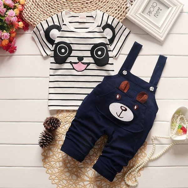 BibiCola summer children clothing baby boys clothing sets panda cartoon cute clothes kids bib short sleeve t shirt+Strap shorts
