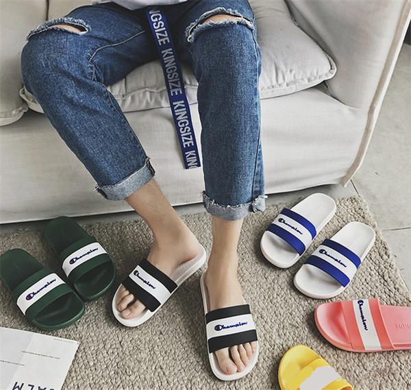 Champions Designer Slippers Mens Women Sandals Brand Soft Rubber Sole Sandal Luxury Flip Flops Summer Fashion Outdoor Beach Bath Shoes C7304
