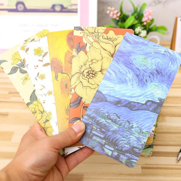 The Starry Night Oil Painting Mini Portable Notebook Notepad Creative Thin Beautiful Flowers Notebook Students Gift