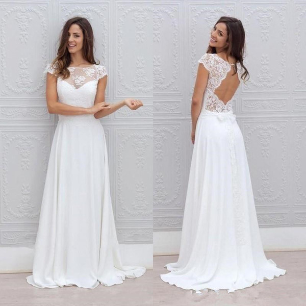 New beach bohemian wedding dre e white lace and chiffon flowy illu ion neckline capped leeve backle a line bridal gown