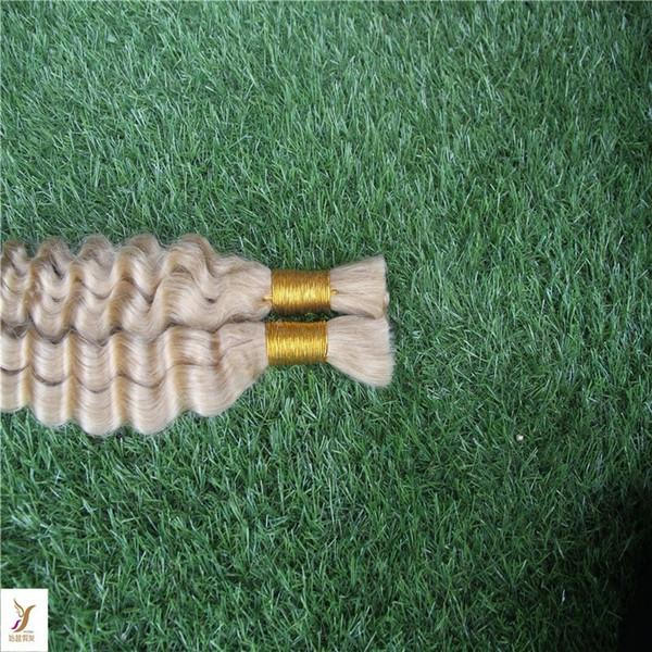 best selling Fanglef Platinum Blonde Color Brazilian Deep Wave Bulk Hair For Braiding 100% Human Hair For Braiding Bulk No Attachment 100g
