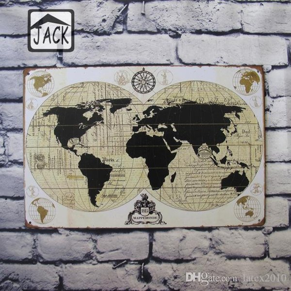 Earth Map Man Cave 20x30cm Retro Poster Metal Tin Signs Vintage Plaque Paintings Advertising Shop Bar Garage Wall Decor
