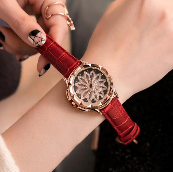 Oro rosa mujer reloj de moda vestido informal reloj de pulsera correa de cuero reloj de cuarzo reloj femenino reloj mujer 7 colores DHL