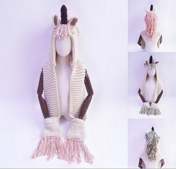 7 Colors Baby Girls Unicorn Knit Hats With Scarf Kids Boys Windproof Hats Scarf Tassels Toddler Cute Long Wrap Cartoon Caps For 2-6T