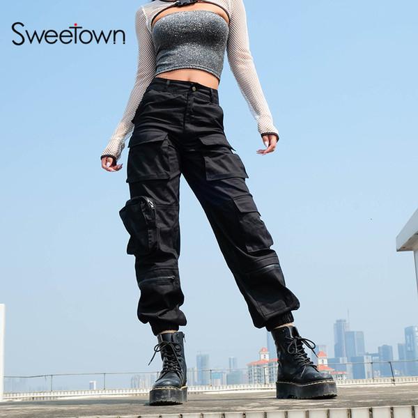 Pantalones Sweetown Negro Carga manera de las mujeres 2019 bolsillos Patchwork Hippie Pantalones falso cremallera tejida pantalones de cintura alta Streetwear V191019