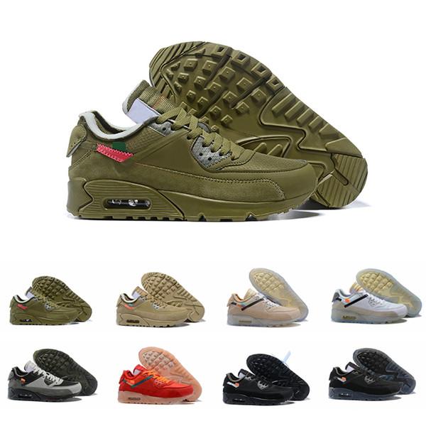 Compre Nike Air Max 90 Blanco AirMax 90 Desierto Mineral Running Shoes Mens Trainers Black Green Hombre Autentico Zapatillas Air Cushion Chaussures De