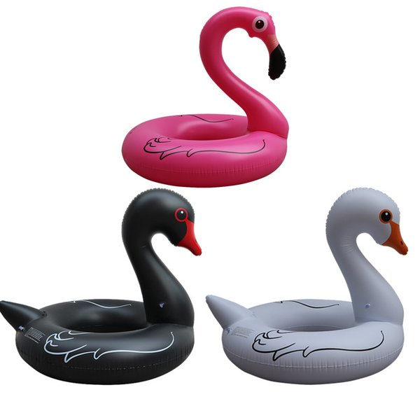 Hot 120cm black and white swan giant flamingo floats water toys summer swimming ring adult thick water circle animal shape floating rings