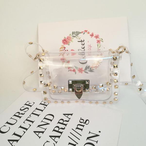 19L*7W*14H cm Transparent Clear PVC Shoulder Bag Wholesale Blanks Rivet Game Day Clutch Team Accessory Bag DOM106815