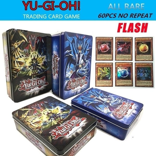 Yugioh Flash Cards Metal Box Packing English Version All Rare 60 Pcs The Strongest Damage Board Game Collection Cards Toy