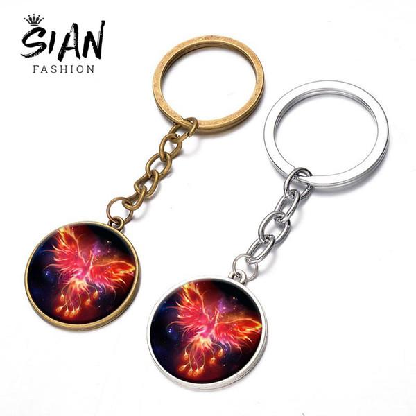 SIAN Exquisite Immortal Bird Phoenix Keychain Rebirth Fire Bird Round Glass Pendant Key Holder High Grade Alloy Car Key Chain