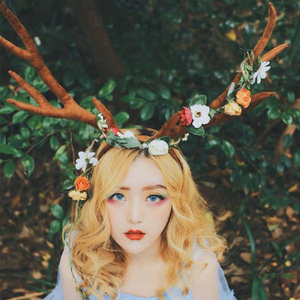 deer antlers christmas headband girl christmas decorations party supplies personalized head hoop big headband women
