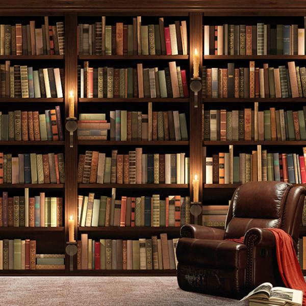 Papel tapiz fotográfico personalizado Estilo europeo 3D Sofá retro Fondo de pantalla de TV Mural de pared Librería Libros Estantería Mural Papel de pared