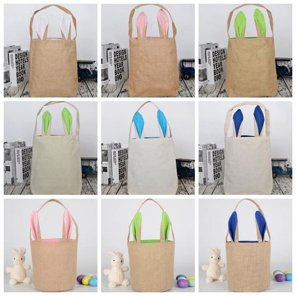 Burlap Ostern Taschen Personalisierte Osterhasen Eimer Rabbit Ears Bucket-Geschenk-Beutel-Ei-Jagd-Organizer 17 Styles DW4918