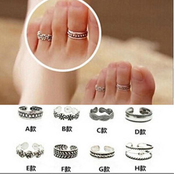 Vintage einstellbare Fuß Ring für Frauen Strand Zehenring Sommer Sexy Charm Open Silber Fuß Ringe Modeschmuck Zubehör Geschenke