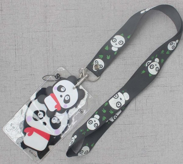 10pcs Cartoon Japanese anime panda kids key chain Lanyard pu ID Badge Holder Key Neck Strap party kids gifts