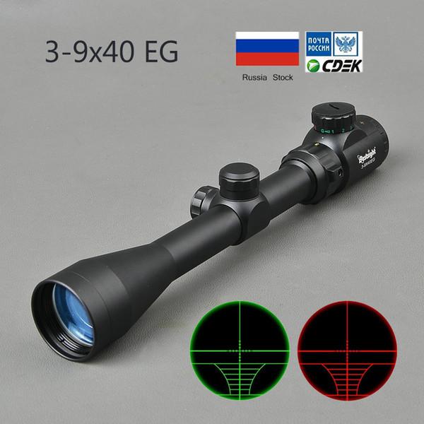3-9x40 광학 범위 적색 녹색 Rangefinder 조명 광학 저격 용 소총 범위 사냥 범위 RiflescopeT190724
