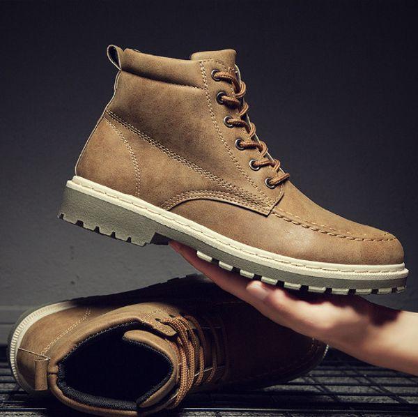 Novos homens de outono Martin botas tendência alta ajuda botas de trabalho dos homens britânicos botas de trabalho de couro dos homens britânicos com alta qualidade e frete grátis