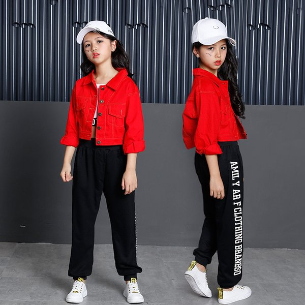 Kids Hip Hop Clothing Ballroom Dance Clothes for Girls Jazz Dance Costumes Denim Coat Crop Tank Tops Pants Streetwear Dancewear