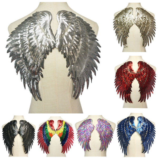 2PCS Silver Gold Rainbow Sequin Feather Angel Wings Sew Iron on Patches Rainbow Red Black Blue For Jeans Shirt DIY Appliques Decoration