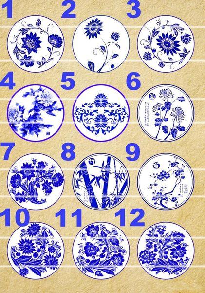 Handgemachtes 10 ~ 25mm buntes Bild Retro Runde Glas Cabochons für Halskette Dekoration und Telefonkette Mithelfer 60 / pcs