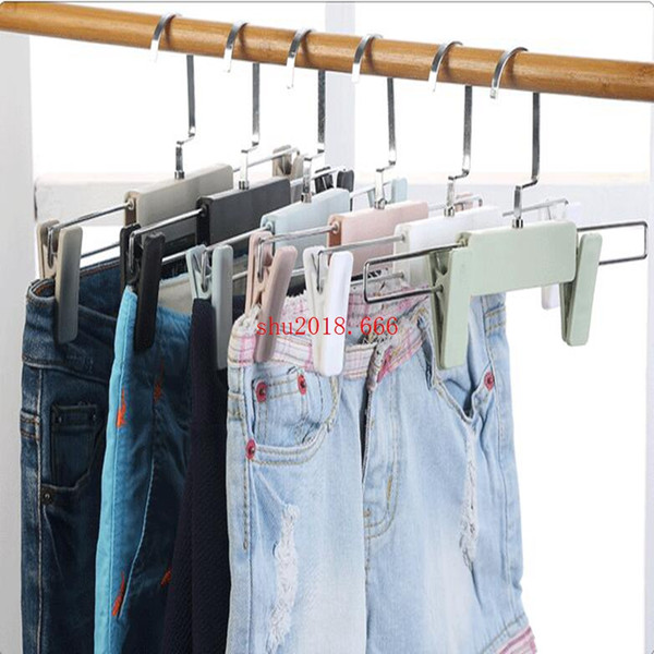 free shipping Adult plastic telescopic Anti-Slip hanger colorful flat hook trousers frame no trace clothing support
