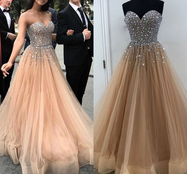 Sparkly Crystal Beading Tulle Prom Dresses Floor Length Ball Gown Champagne Blush Pink Sweet 16 Dresses Zipper Up