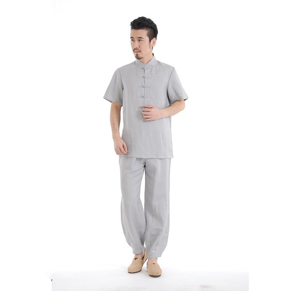 Men Linen Yoga Suit Breathable Gym Sports Clothes Quick Drying Yoga Suit Tracksuit Man Tachi Zen Comfortable Wear Set #249333