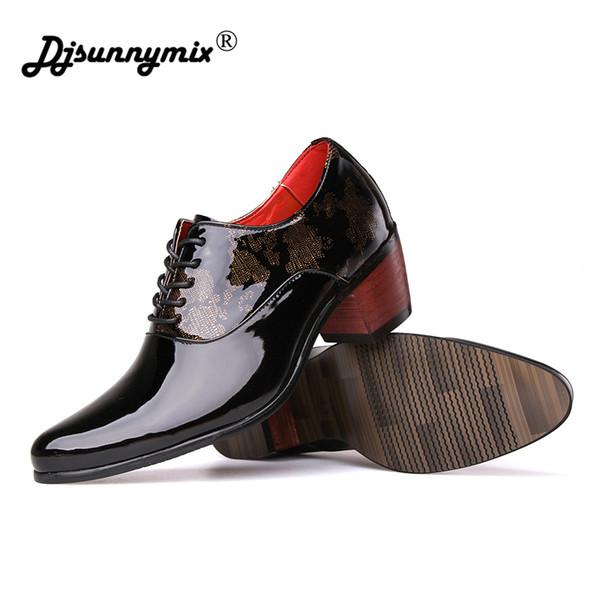 DJSUNNYMI Yeni erkek Resmi Ayakkabı sivri Burun görüşlü Topuk 6 cm Parlak Kırmızı Renk Yüksek Kalite Ayakkabı Balo Ziyafet Erkekler düğün ayakkabı