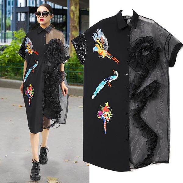 2018 2019 Summer Women Black Midi Mesh Shirt Dress Plus Size Ruffle Bird  Embroidery Lady Sheer Cute Dress Party Dress Robe Style F221 From ...