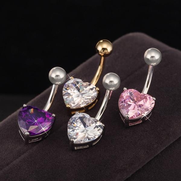 Mezclar color corazón Cristal Acero inoxidable Labio Cuerpo Anillos de perforación I Forma Ear Stud Piercing Tragus Body Jewelry Unisex-P