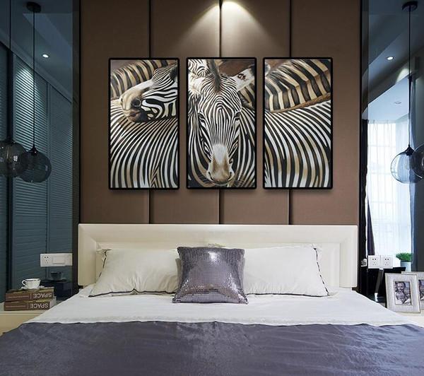 Hermosa pintura de cebra hecha a mano decoración del hogar paisaje abstracto acogedor pino en Canvas Wall Art para decoración de habitaciones