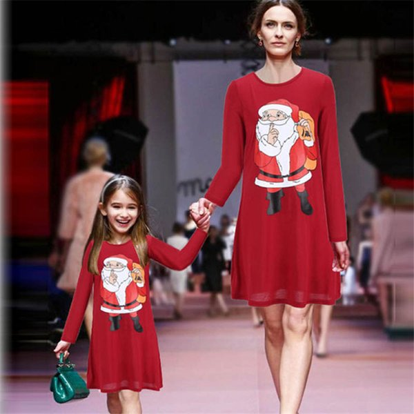 Autumn Winter Christmas Dress Family Clothing Matching Mother Daughter Dresses Mommy And Me Clothes Pajamas Girl Outfits Look